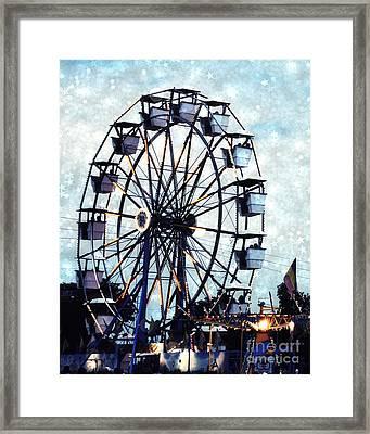 Surreal Carnival Ferris Wheel Baby Boy Blue Carnival Rides - Baby Boy Nursery Blue Ferris Wheel Art Framed Print by Kathy Fornal