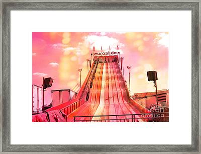 Surreal Carnival Festival Fair Hot Pink And Orange Euroslide Fair Ride Framed Print by Kathy Fornal