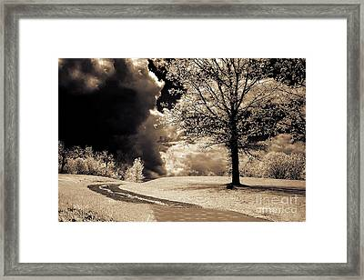 Surreal Dark Gothic Infrared Sepia Trees Clouds Landscape Framed Print by Kathy Fornal