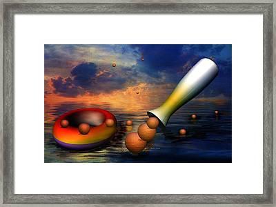 Surreal Dinner Served Over The Ocean Framed Print by Angela A Stanton