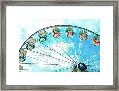 Dreamy Ferris Wheel Baby Blue Sky Boy Carnival  Ferris Wheel Art - Baby Blue Nursery Ferris Wheel  Framed Print by Kathy Fornal