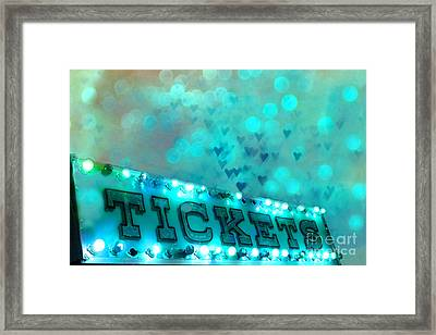 Surreal Dreamy Carnival Festival Fair Aqua Teal Blue Ticket Booth - Whimsical Fantasy Carnival Art  Framed Print by Kathy Fornal