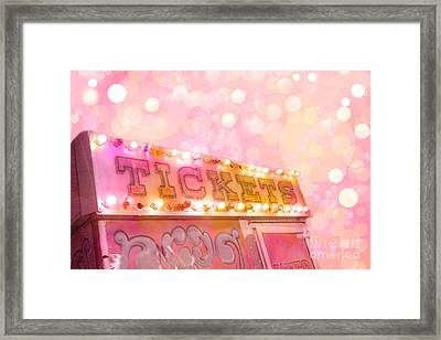 Surreal Dreamy Carnival Festival Fair Pink Ticket Booth - Whimsical Fantasy Carnival Art Framed Print by Kathy Fornal