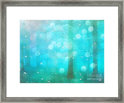 Surreal Dreamy Ethereal Aqua Teal Turquoise Woodlands Trees And Bokeh Circles Framed Print