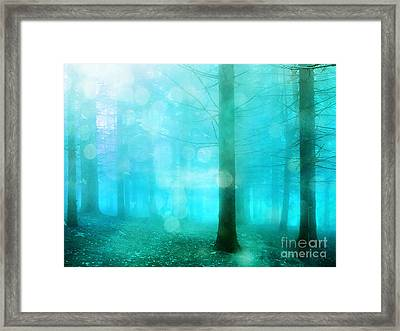 Surreal Dreamy Fantasy Bokeh Aqua Teal Turquoise Woodlands Trees  Framed Print