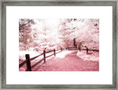 Surreal Dreamy Fantasy Pink Infrared Path Fence Landscape Framed Print