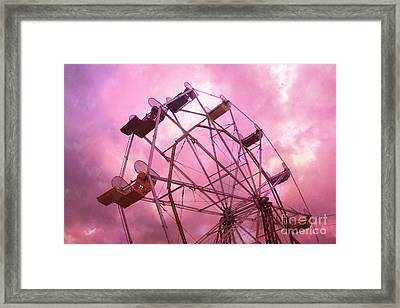 Surreal Hot Pink Ferris Wheel Pink Sky - Carnival Art Baby Girl Nursery Decor Framed Print by Kathy Fornal