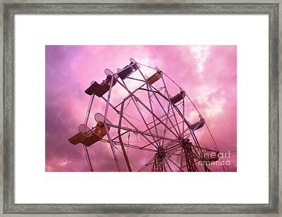 Surreal Hot Pink Ferris Wheel Pink Sky - Carnival Art Baby Girl Nursery Decor Framed Print