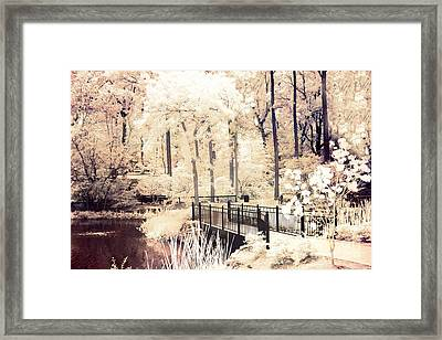 Surreal Dreamy Infrared Nature Bridge Landscape - Autumn Fall Infrared Framed Print by Kathy Fornal