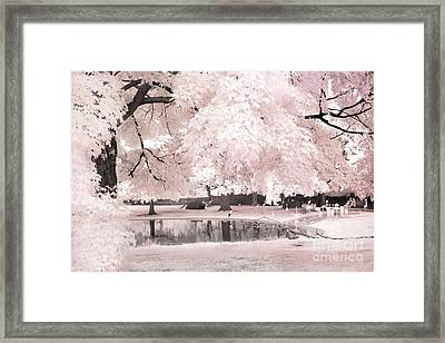 Surreal Dreamy Infrared Pink White Flamingo Park - Pink Infrared Fantasy Nature Framed Print by Kathy Fornal