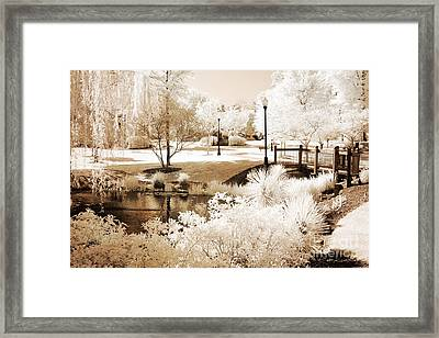 Surreal Dreamy Infrared Sepia Park Landscape Framed Print by Kathy Fornal