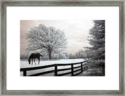 Surreal Dreamy Infrared Trees - Fantasy Infrared Horse Nature Landscape With Fence Post Framed Print by Kathy Fornal