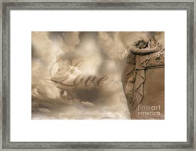 Surreal Dreamy Love Ethereal Sad Angel Cemetery Statue Sepia Clouds - Lost Love Framed Print