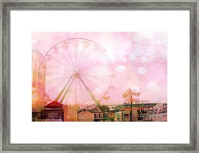 Surreal Dreamy Pink Myrtle Beach Ferris Wheel Framed Print by Kathy Fornal