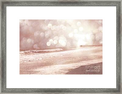 Surreal Dreamy South Carolina Ocean Beach Nature Framed Print by Kathy Fornal