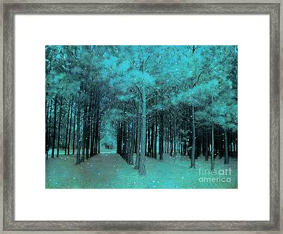 Surreal Dreamy Teal Aqua Woodlands With Stars - Fantasy Nature Trees Woodlands Photography Framed Print by Kathy Fornal