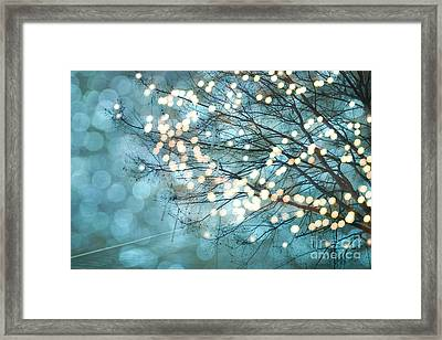 Surreal Dreamy Aqua Teal Fairylights Fantasy Sparkling Aqua Teal Blue Bokeh Nature Trees Framed Print