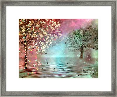 Surreal Dreamy Twinkling Fantasy Sparkling Nature Trees Framed Print by Kathy Fornal