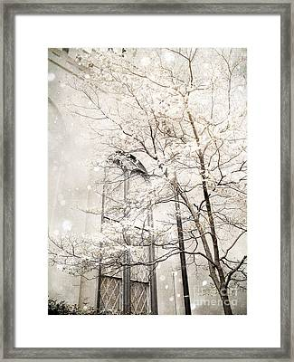 Surreal Dreamy Winter White Church Trees Framed Print