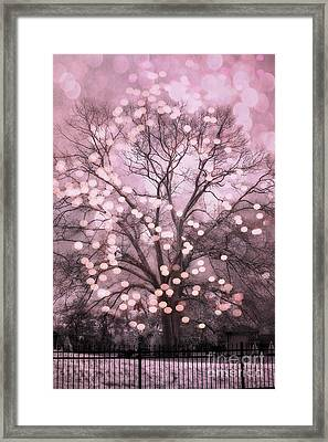 Surreal Fairytale Pink Nature Trees Fairy Lights Bokeh Nature Decor - Pink Holiday Fairy Lights Tree Framed Print