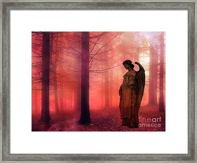 Surreal Fantasy Angel In Foggy Red Woodlands Framed Print by Kathy Fornal