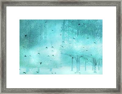 Surreal Fantasy Aqua Blue Teal Trees With Flying Birds Framed Print