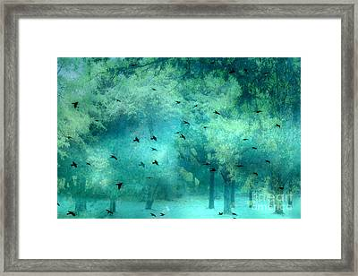 Surreal Fantasy Aqua Teal Woodlands Trees With Ravens Flying Framed Print by Kathy Fornal