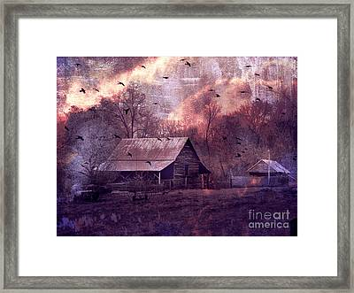 Surreal Fantasy Barn Landscape With Ravens Framed Print