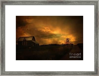 Surreal Fantasy Barn Sunset Nature Farm Landscape Framed Print by Kathy Fornal
