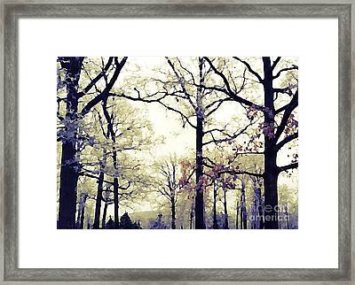 Surreal Fantasy Blue Purple Yellow Nature Woodlands Framed Print by Kathy Fornal