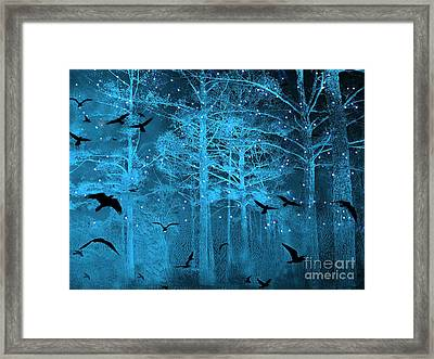 Surreal Fantasy Blue Woodlands Ravens And Stars - Fairytale Fantasy Blue Nature With Flying Ravens Framed Print