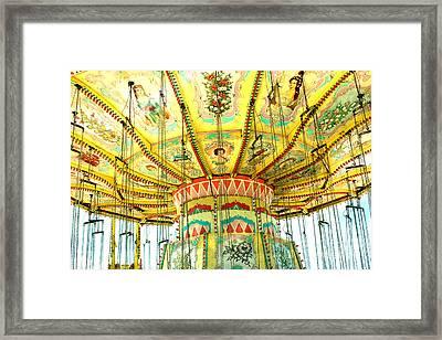 Surreal Fantasy Carnival Festival Fair Yellow Ferris Wheel Swing Ride  Framed Print