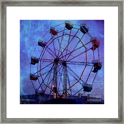 Surreal Fantasy Dark Blue Ferris Wheel Night Sky Framed Print by Kathy Fornal