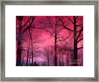 Surreal Fantasy Dark Pink Forest Woodlands Trees With Dark Pink Haunting Sky - Fantasy Pink Nature  Framed Print by Kathy Fornal