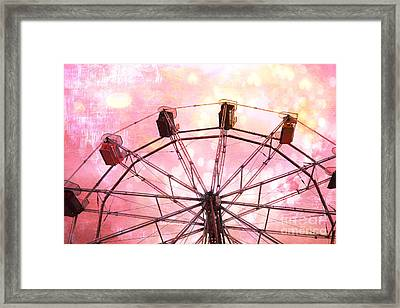 Dreamy Pink Yellow Carnival Ferris Wheel Ride - Carnival Ferris Wheel Kid's Room Decor Framed Print by Kathy Fornal
