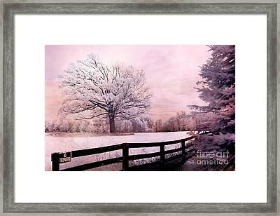 Surreal Fantasy Dreamy Pink Infrared Trees And Nature Landscape  Framed Print by Kathy Fornal