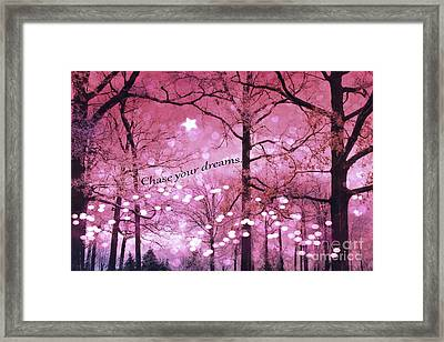 Surreal Fantasy Fairy Lights Inspirational Nature Woodlands Trees With Sparkling Lights And Stars Framed Print by Kathy Fornal