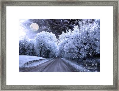 Surreal Fantasy Fairytale Blue Moon Stars Nature Framed Print
