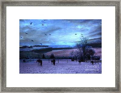 Surreal Fantasy Fairytale Horse Landscapes - Fairytale Blue Skies Framed Print by Kathy Fornal