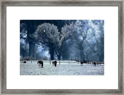 Surreal Fantasy Fairytale Infrared Nature Horses Blue Landscape Framed Print by Kathy Fornal