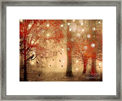 Surreal Fantasy Fairytale Nature Autumn Fall Forest Woodlands Gothic Raven Framed Print by Kathy Fornal