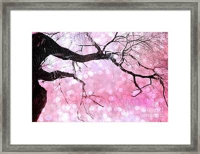 Surreal Fantasy Fairytale Pink And Black Nature Haunting Tree Limbs - Pink Bokeh Circles Framed Print by Kathy Fornal