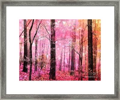 Surreal Fantasy Fairytale Pink Forest Woodlands - Pink Fairytale Fantasy Woodlands  Framed Print