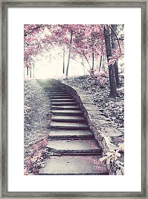 Surreal Fantasy Fairytale Pink Trees And Ethereal Woodlands Staircase  Framed Print by Kathy Fornal