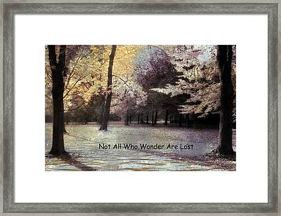 Surreal Fantasy Fall Autumn Woodlands Forest Landscape With Inspirational Message  Framed Print by Kathy Fornal