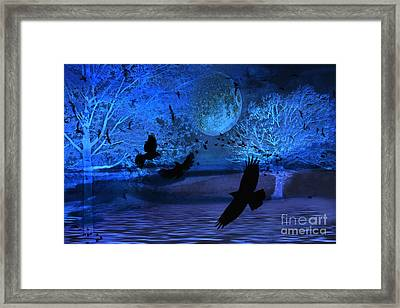 Surreal Fantasy Gothic Blue Moon With Ravens Nature Framed Print