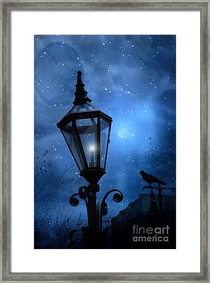 Surreal Fantasy Gothic Blue Night Lantern With Ravens - Starry Night Surreal Lantern Blue Moon Framed Print by Kathy Fornal