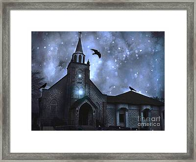 Surreal Fantasy Gothic Church With Ravens Flying - Church Blue Winter Night Framed Print by Kathy Fornal