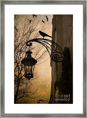 Surreal Fantasy Gothic Lantern With Ravens Framed Print by Kathy Fornal