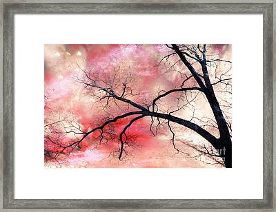 Surreal Fantasy Gothic Nature Tree Sky Landscape - Fantasy Nature Framed Print by Kathy Fornal
